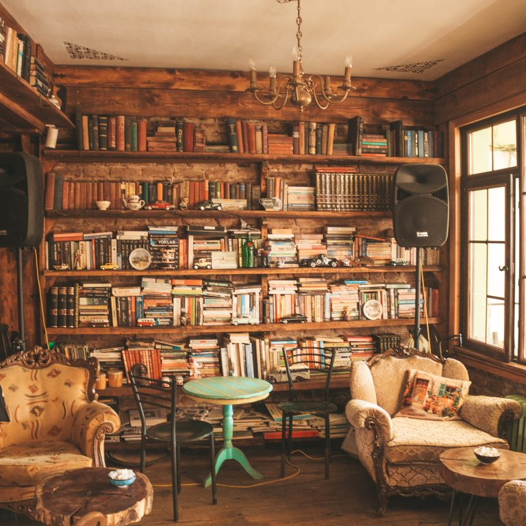 rustic library of books