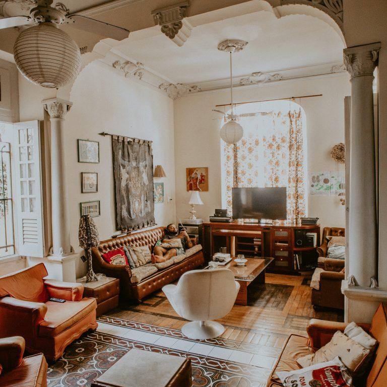 boho farmhouse style living room
